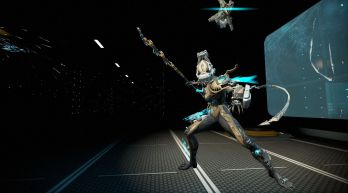 """First Place: Surry """"They were too late, Alad V had already completed his work, she was a perfect specimen of corpus robotics. No longer a warframe, the perfect crewman. Armed with an energy saw she makes a formidable addition to the corpus collective. Production has already begun to mass produce the new obedient army based on the original."""""""