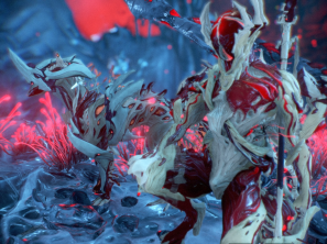 """Third Place: Cowardly_Tryhard """"Overall theme is reminiscent of skinless flesh. Prior to Nidus' release, DE Steve noted the Accent portion of his design was very muscle like and reminded him of Attack on Titan. His observation inspired me to make this bloody masterpiece. """""""